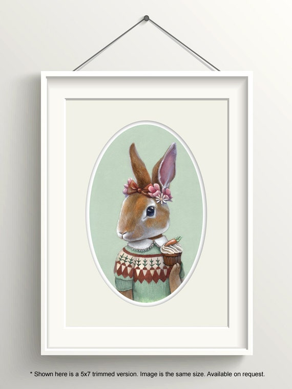 "Bunny Art, Rabbit with Carrot Cupcake Painting, Fair Isle Sweater Print, Forest Animal Art Print, ""Ester"""