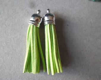x 2 green suede tassel pendants Apple silver plastic Acorn 6 cm