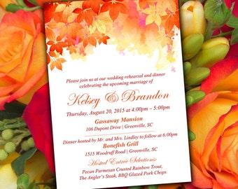 "Fall Rehearsal Dinner Invitation Template - Autumn Wedding ""Watercolor Fall"" Red Orange Wedding Template - Wedding Rehearsal  Invitation"