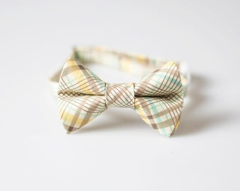 Baby Bowtie - Yellow, Brown, and Aqua Plaid - Toddler Bow Tie
