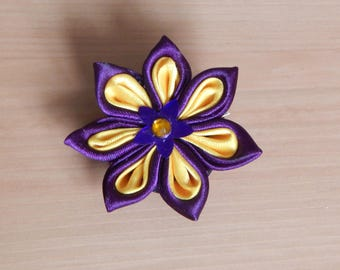 Purple and yellow kanzashi flower clip