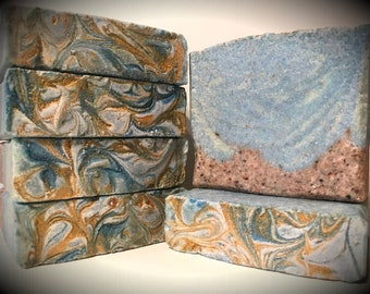 Seaside, handmade soap, soap with pink Himalayan salt, artisan soap, cold processed soap