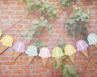 Ice Cream Cone Happy Birthday Banner, Ice Cream Theme Party Banner, Birthday Banner, Ice Cream Birthday Party Decoration