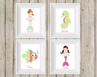 mermaid bathroom, mermaid decor, pink and green, under the sea, kid's bathroom decor, bathroom wall art, bathroom rules, mermaid prints
