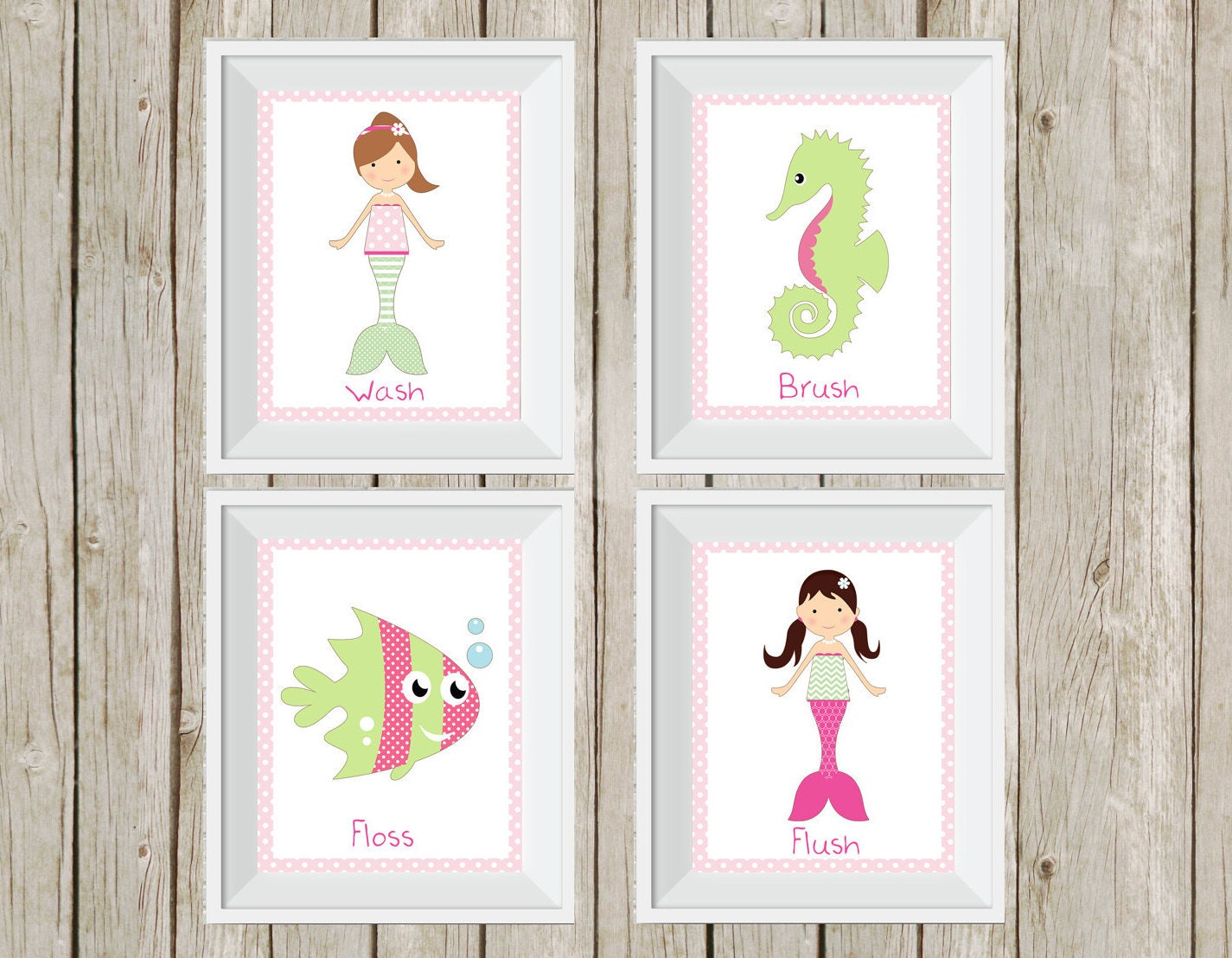 Mermaid bathroom mermaid decor pink and green under the zoom jeuxipadfo Images