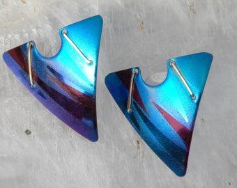 Titanium fabulous Handmade Lightweight Post Earrings in blues, wines, Gold trim.