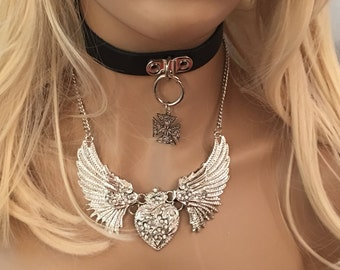 Gorgeous Silver Angel Heart Wing Necklace.