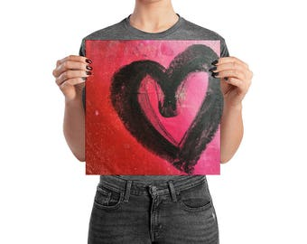 Everything is Love Heart Poster | Love art | heart art | red wall art | heart wall art | heart print | red art print | love wall art