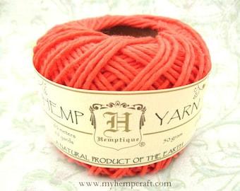 Cotton Hemp Yarn, Coral, 66yd Natural DK Weight Hemp Cotton Blend Yarn