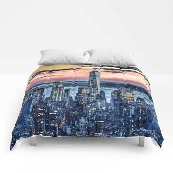 Sunset in New York Comforter, New York Bedding, Manhattan Bedspread, Decorative, Unique, Blanket, City Urban Decor, Dorm Bedding, Teen