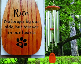 Dog Sympathy Gift, Dog Loss, Memorial, Death, Keepsake, Ornament, Personalized Windchimes, Engraved, Garden Gift, Paw Print, Pet Loss Gift