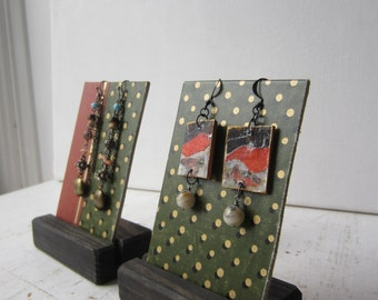 Pair Earring Displays - Green w Gold Polka Dots - Reversible Recycled Vintage Book Jewelry Display - Ready to Ship