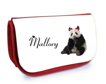 Red Panda /crayons make-up case personalized with name