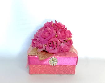 Gift Box Hot Pink Vintage Jewelry Gift Box Pink Gold  Favors Gift Card box  Jewelry  Gift Cards MDay Christmas Bridesmaids