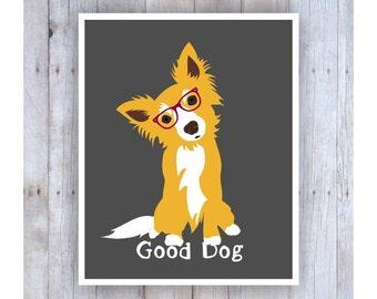 Dog Art, Dog Artwork, Cute Dog, Dog Poster, Dog Glasses, Dog Decor, Dog Wall Decor, Good Dog, Yorkshire Terrier, Pet Decor, Pet Art
