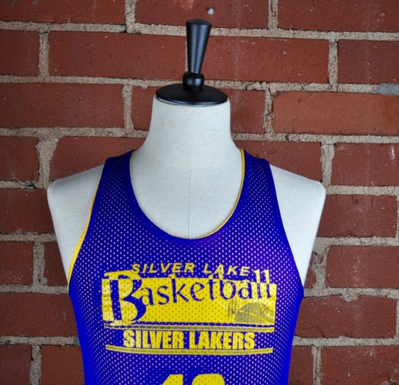 Silver Lake Silver Lakers Yellow and Blue Basketball Jersey #10 Sz S