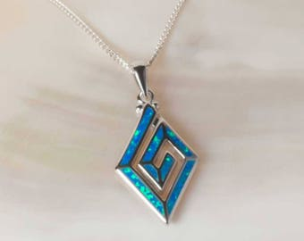 Blue Sea Opal Pendant, Sterling Silver Pendant, Silver Opal necklace, 925 Blue Opal Pendant, Opal Jewelry, 925 Silver Jewelry, UK Seller