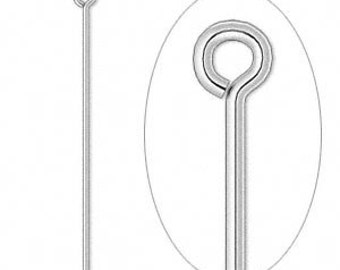 50 Silver-plated Eyepins, 21 gauge, 3 1/2 inches long