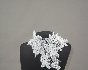 White lace lace white wedding necklace