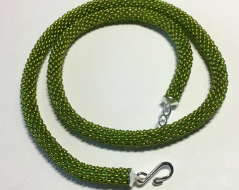Olivine Choker . Bead Crochet Necklace with Silver Toned Hook and Loop Closure Copper Lined Seed Bead Jewelry Handmade Woman Mother Gift