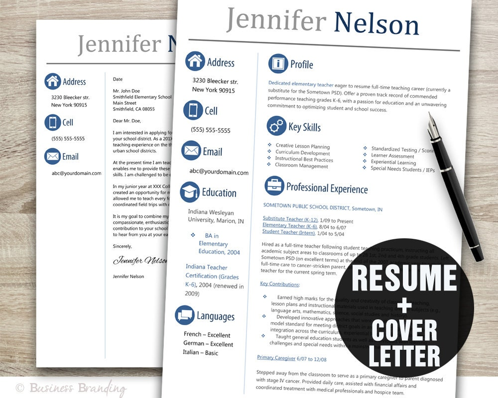 Teacher Resume Template Word / Cover Letter Template / Instant