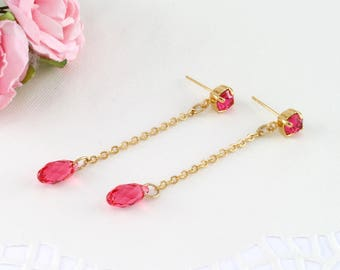 Pink drop earrings, Pink long earrings, Summer earrings, Pink wedding, Pink wedding earrings, Hot pink long earrings