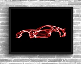 Dodge Viper Art Wall Art Classic Car Man Cave Muscle Car Gift For Him Automotive Art Viper Art Car Art Home Decor Dodge Viper Décor