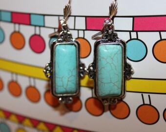 Hypoallergenic turquoise Medallion earrings