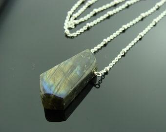 Rough Flash Labradorite Sterling Sliver Necklace