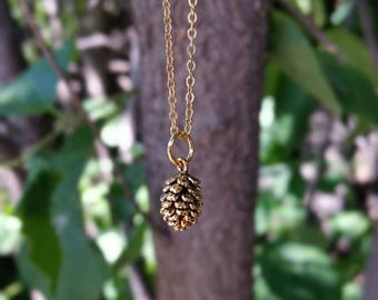 Pinecone necklace, tiny gold pinecone, nature jewelry