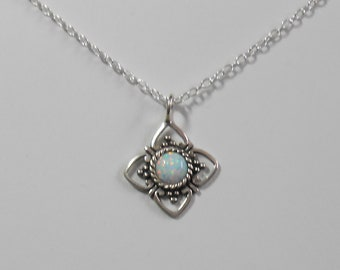 """Delicate Tiny Opal Sterling Silver Necklace Pendant  18"""" Chain"""