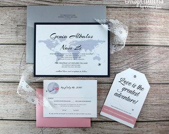 Travel Map Wedding Invitations, World Map Invitations, Travel Theme Wedding