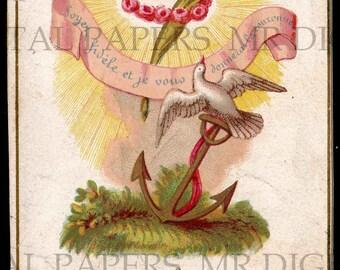 Holy Prayer Card / Dove Holy Card / Dove and Anchor / Prayer Card / 3 sizes / Digital Download / Holy Card Ephemera / French Prayer Card