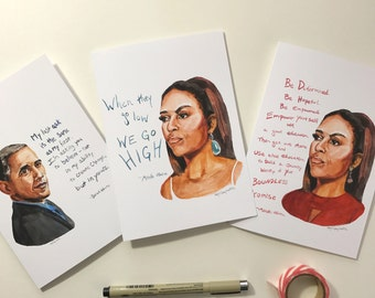 Set of 3 Obama cards, portrait and Inspiring quote, 5x7 card, when they go low we go high, Ready to Ship