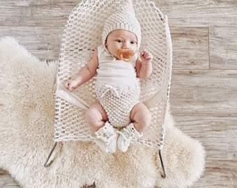 Baby bloomers and bonnet, newborn outfit, cotton bloomers, baby bonnet, knited clothes for baby
