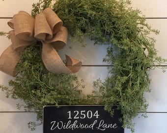 Address Sign, grapevine wreath, distressed, greenery wreath, front door wreath, rustic wreath, shabby chic, gift, new home gift, decor