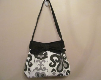 Over the Shoulder Pleated Bow Handbag Purse, Medium Black and White