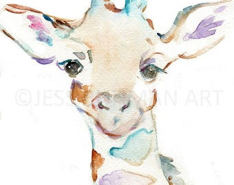 Joey the Giraffe Watercolor Print, Print of Giraffe, Watercolor Giraffe, Watercolor Animal Print, Giraffe Painting, Nursery Art