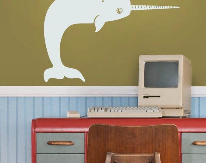 vinyl wall decal art- narwhal sticker, whale vinyl sticker art, arctic sea life decal, FREE SHIPPING