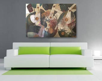 Three Man Band Canvas, African American Art, Canvas Art, Canvas Wall Art,Home Decor Art, Canvas Painting,Abstract Art, Wall Art