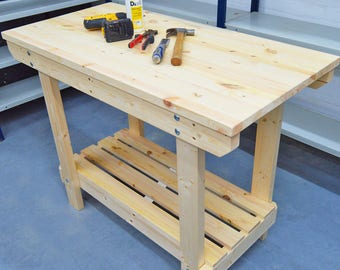 3.5FT Wooden Workbench    Handmade   VERY STRONG & STURDY   Next Day Delivery   Top Quality!