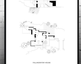 Print Frank Lloyd Wright. Fallingwater HOUSE Poster. House on the waterfall. Typographical printing. Scandinavian style. Nordic style. Décor.