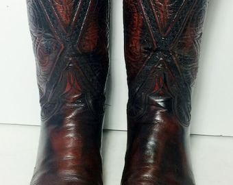 LUCCHESE Burgundy Leather Western Cowboy Boots Men's Size 10 D