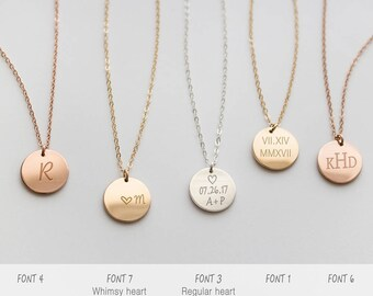 Initial necklace, circle necklace, Custom necklace, Disc pendant, Silver, Gold, Rose gold • NDV130