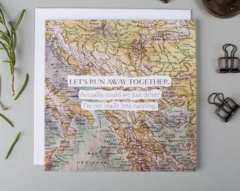 Funny Anniversary Card For Him - Boyfriend Anniversary Card - Funny Card For Boyfriend - Funny Anniversary Card - Let's Run Away Together