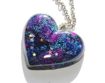 Holographic Galaxy Necklace Chunky Heart Pendant Teal Blue Violet Purple Glitter Resin Jewelry