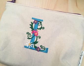 Embroidered Zipper Pouch-Floral Monogram Initial (Made to Order)