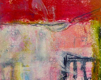 GATE an original oil and cold wax painting on paper
