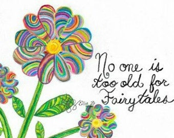 "Hand drawn ""Fairytales"" Flower printable"