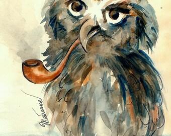Cute owl watercolour by Marianna Fedorova